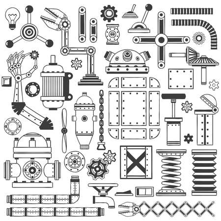 Spare parts collection to create machines, robots, devices. Handmade in doodle style.
