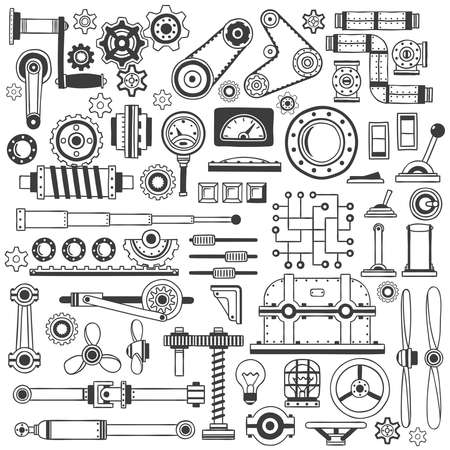 industrial machine: Set of industrial machine parts in doodle style. Suitable for construction machinery.