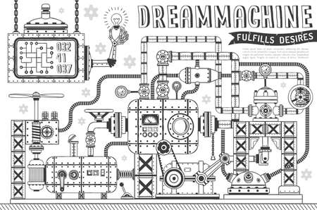 Fantastic machine in doodle style. Steampunk apparatus for fulfillment of desires.