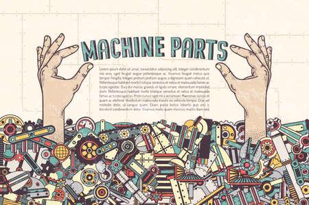 ポスター テンプレート - 機械部品の山から突き出て手は、碑文を保持します。クリッピング マスク - の詳細を削除し、別に配置できます。別のレイ