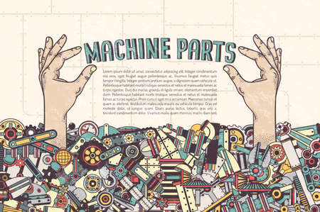 machine parts: Poster Template - hand sticking out from a pile of machine parts hold inscription. Details in the clipping mask - can be removed and placed in another. Textures on separate layers.