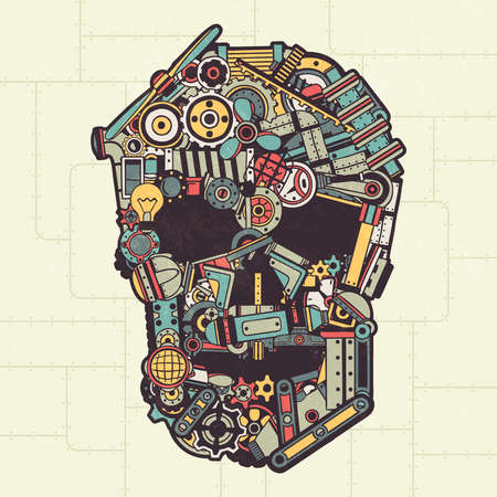 Skull made from a variety of machinery parts, appliances, pipes, machinery. Vector illustration. All elements are drawn separately. Texture on a separate layer. 일러스트