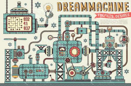 Fantástica máquina steampunk em estilo vintage. Unidades de tubos entrelaçados, medidores de pressão, dispositivos, componentes. Textura retrô em uma camada separada. Ilustración de vector