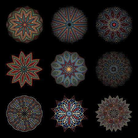 Ethnic circular ornaments on a black background. Set of nine options mandalas.