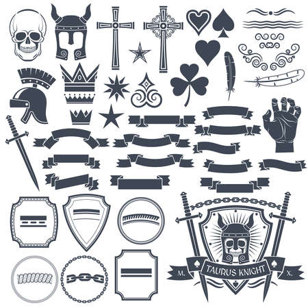 clover banners: Set to create a retro to use an example. Skull, helmet knight, cross, spades, hearts, vignette, crown, feather, clover, hand, sword, banners, ribbons, shields.