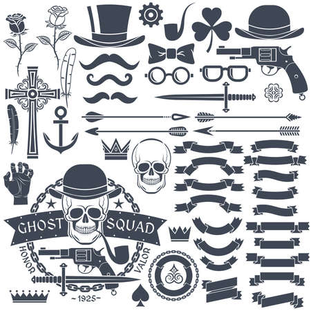 Set of elements for design retro emblem. Emblem with a skull wearing a hat with a pistol and a dagger. Gangster tattoo.