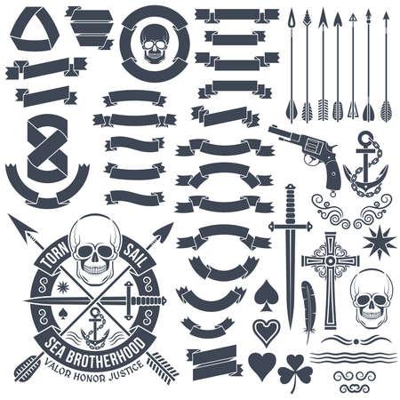 armorial: Set of vintage elements to create. Pirate skull emblem. Heraldic ribbon banners. Cross, dagger, skull, star, pistol, clover, anchor, arrows. Illustration