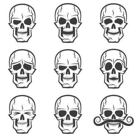 eyes closed: Skull emotions set. Wary skull, evil skull, funny skull, skull surprised,skull with eyes closed,  serious skull, sad skull, skull with mustache. Illustration