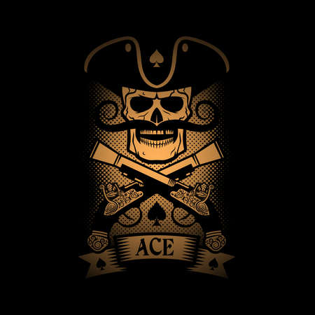ace of spades: Pirate emblem skull with a pistol on a black background. ace of spades.