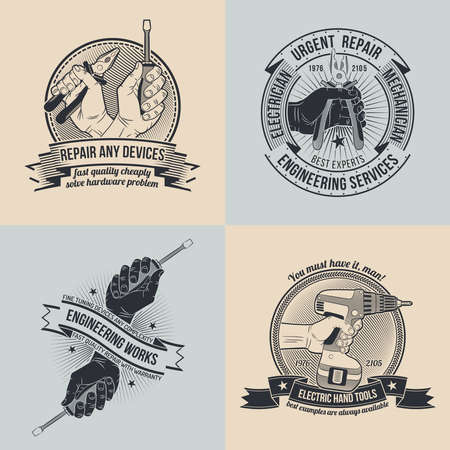 electromechanical workshop,tools shop. The emblem of repair workshop or engineering firms in style old school. The text can be easily removed. Illustration