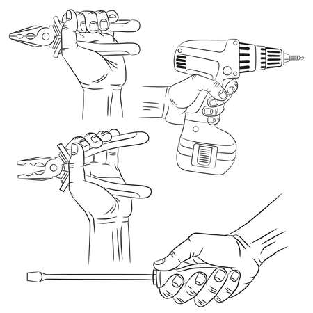 screwdriver: Hands with tools - outline realistic drawings. Hand with pliers, hand with  screwdriver, hand with electric screwdriver.