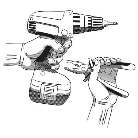 screwdriwer: Hand with electric screwdriver and hand with pliers - realistic paintings in the style of engraving.