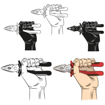 Hand holds pliers. Realistic drawing of male hand with pliers in various designs. Illustration