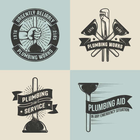 Retro, vintage, labels for plumbing service. Plunger in hand. Textures, background, text on separate layers. Vetores