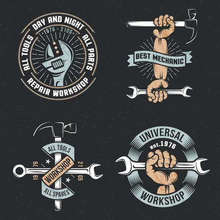 background textures: emblem repair workshop with hands and tools in a vintage, retro style on a black background. Textures and background on separate layers.