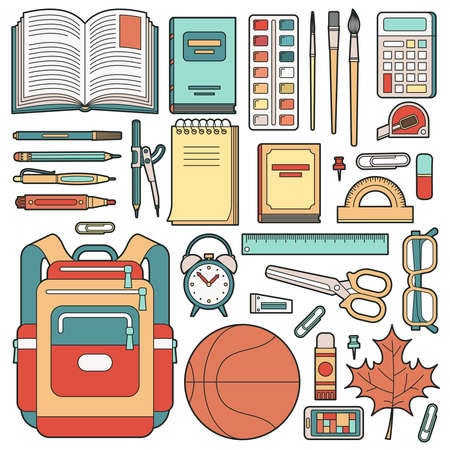 Backpack of the schoolboy and school stuff. Stationery. Vector illustration. Vector Illustration