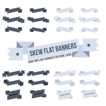 sloping: Set sloping banners of various designs for emblems. Flat sloping banners.