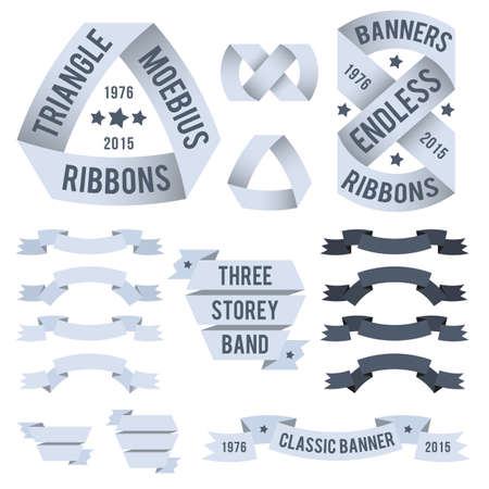triangular banner: Exotic ribbons for emblems. The Mobius ribbon. Triangular banner, endless belt, classic banners.