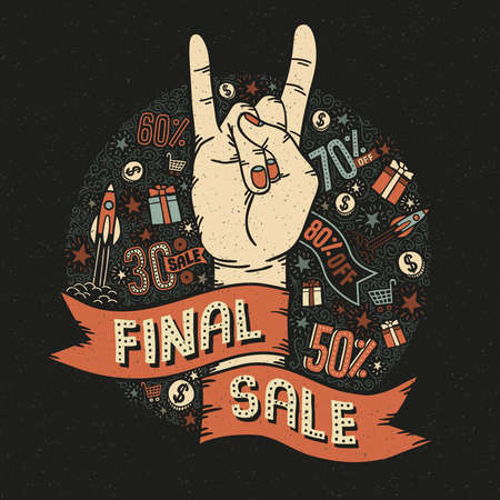 heavy metal: Final sale vintage retro poster with a heavy metal hand gesture, heavy metal and small decorative elements. Vector illustration.