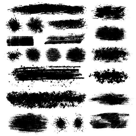 configurations: Grunge isolated black blots and spots of various shapes and configurations. Vector illustration. Illustration