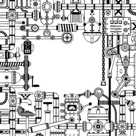 Steampunk 다양 한 기계 부품, 스크랩 금속, 메커니즘 및 파이프 낙서 프레임. 작성하지 않고 흑백 버전. 일러스트