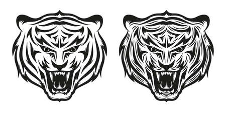 growling: Head of growling tiger tattoo in two versions - a simple and detailed. Vector illustration.