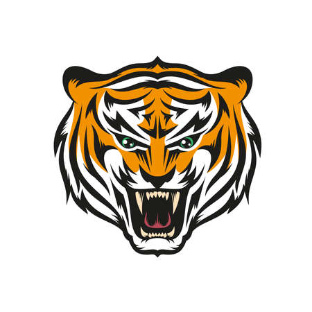 tigress: Isolated head of roaring tiger with grin in style the mascots for sports teams. Layered vector illustration - easy to edit.
