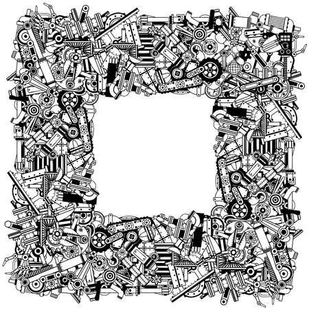 Rahmen aus einer Vielzahl von Ersatzteilen und Schrott. Schwarz-Weiß-Umriss Vektor-Illustration. Vektorgrafik