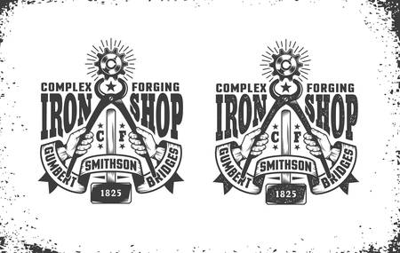 Smithy, workshop logo in vintage retro style. Hands holding pliers gripping cogwheel, forging hammer, retro ribbon. Vector layered illustration. Easy to edit. Illustration