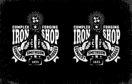 Smithy emblem with hammer, tongs and vintage ribbon on a black background. Vector layered illustration. Easy to edit.