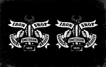 Vintage-Logo Schmied Werkstatt in zwei Versionen: Standard und mit Bucheffekt. Gründliche separationby Schichten - einfache Bearbeitung.