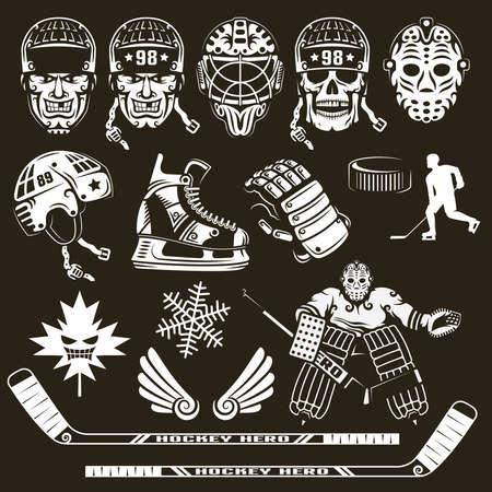 Ice hockey equipment on a black background.