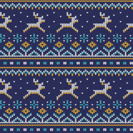 Knitted seamless ornament with running deer on a blue background. Vector illustration. Pattern is included in swatches panel.
