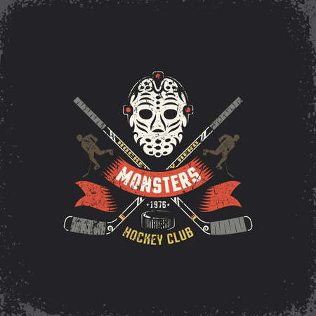 Hockey logo, mascot for sport team,  club,  league with retro goalie mask, crossed sticks, player silhouette and ribbon. Grunge texture on separate layers, easily edited.