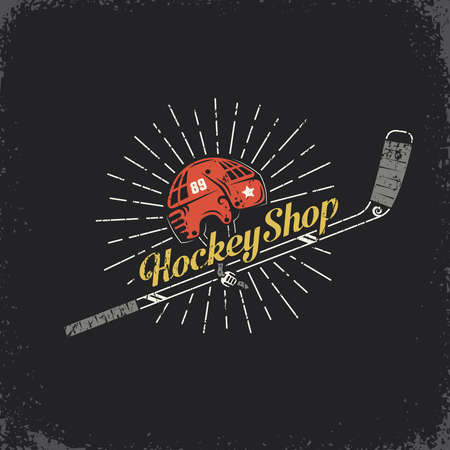 Retro logo for the hockey shop - stick, helmet and inscription. Layered vector illustration - grunge texture, text, background separately and can be easily disabled. Illustration