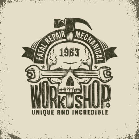 Repair Workshop Logo in Retro Style - Skull with Spanner and a Hammer. Textures and background on separate layers, easily disabled, easy to edit. Illustration