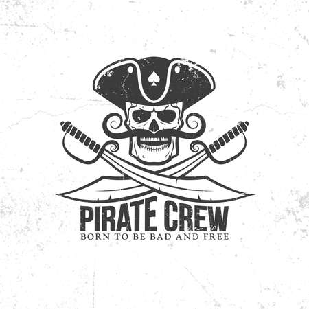 Jolly Roger tattoo - pirate skull with a mustache, with swords on a white background. Grunge texture on separate layers and can be easily disabled. Illustration