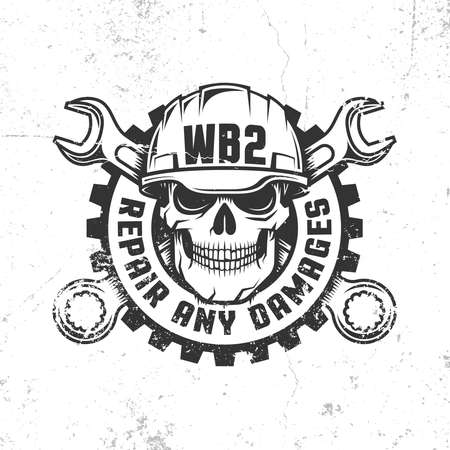 Mechanical repair workshop retro logo with skull in hard hat, crossed spanners and gear. Vector layered illustration - worn textures can be disabled.