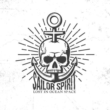 swashbuckler: Marine tattoo logo - a skull pierced anchor in retro style. Vector illustration. Worn textures on a separate layer - easy to disable.