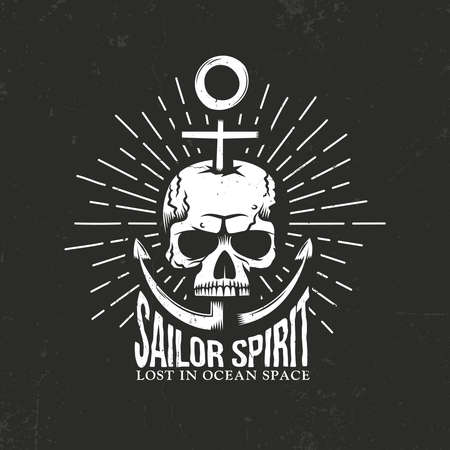 Marine hipster skull emblem with anchor, inscription and Sunburst on a black background. Textures on separate layers, and can be disabled. Vector illustration. Illustration