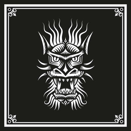zodiac anger: Chinese dragons head in a frame on a white on a black background. Vector illustration. Illustration
