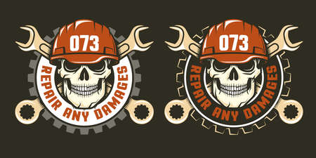 Template of repair service logo - skull in a red helmet with spanners. Two versions on a dark background. Vector illustration. Illustration