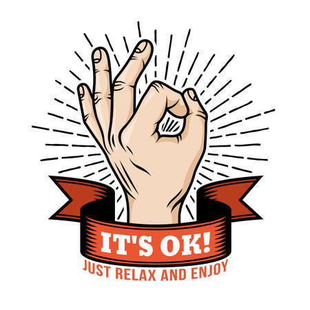 Ok hand gesture retro design template with ribbon and sunburst. Vector illustration.