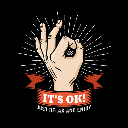 design OK  hand gesture with ribbon and sunburst on a black background. Vector illustration.