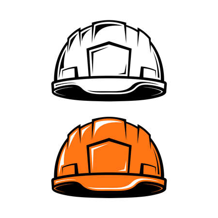 arquitecto caricatura: Construcción, casco industrial en el estilo de dibujos animados sobre fondo blanco. en blanco y negro y en color versiones. Ilustración del vector.