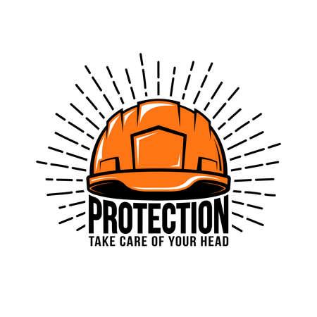 Oldschool, retro, hipster logo with worker, builder helmet or hard hat, sunburst, inscription on a white background. Vector illustration.