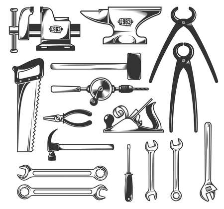 pincers: Set of the most common working tools  - hammer, screwdriver, wrench, pliers and so on. Vector monochrome illustration.