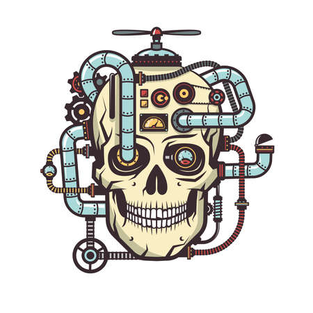 aggregates: Steampunk Skull with built industrial elements - pipe, parts, cables, mechanisms, devices, aggregates. Vector illustration.