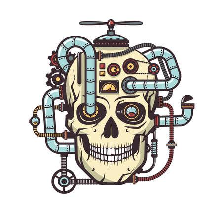 Steampunkschedel met ingebouwde industriële elementen - pijp, onderdelen, kabels, mechanismen, apparaten, aggregaten. Vector illustratie.