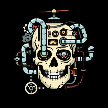 Cráneo con elementos implantados Steampunk - tubos, cables, dispositivos, sensores, mecanismos. Ilustración del vector en un fondo negro.